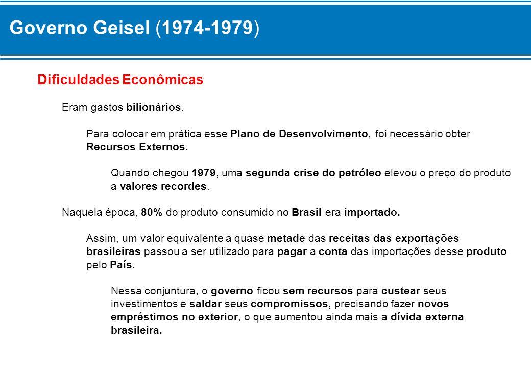 Governo Geisel (1974-1979) Dificuldades Econômicas Eram gastos bilionários. Para colocar em prática esse Plano de Desenvolvimento, foi necessário obte