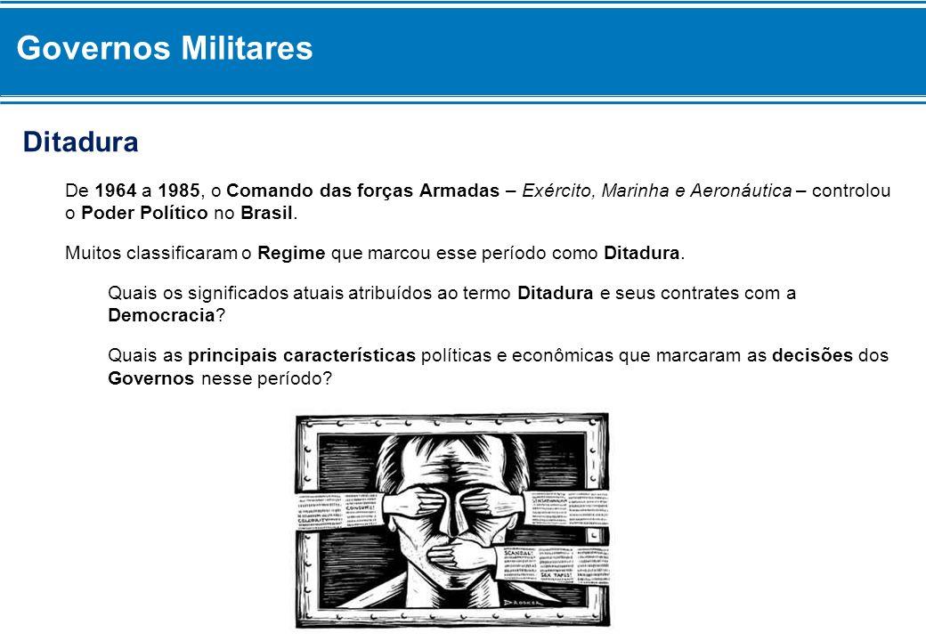 Ditadura De 1964 a 1985, o Comando das forças Armadas – Exército, Marinha e Aeronáutica – controlou o Poder Político no Brasil. Muitos classificaram o