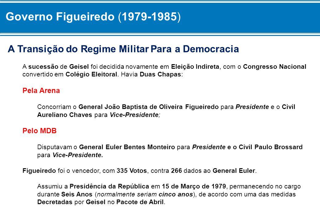 A Transição do Regime Militar Para a Democracia A sucessão de Geisel foi decidida novamente em Eleição Indireta, com o Congresso Nacional convertido e