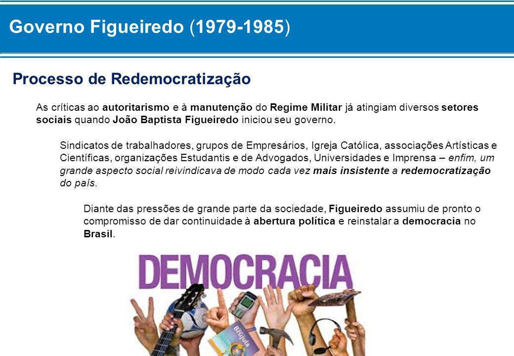 Governo Figueiredo (1979-1985) Processo de Redemocratização As críticas ao autoritarismo e à manutenção do Regime Militar já atingiam diversos setores