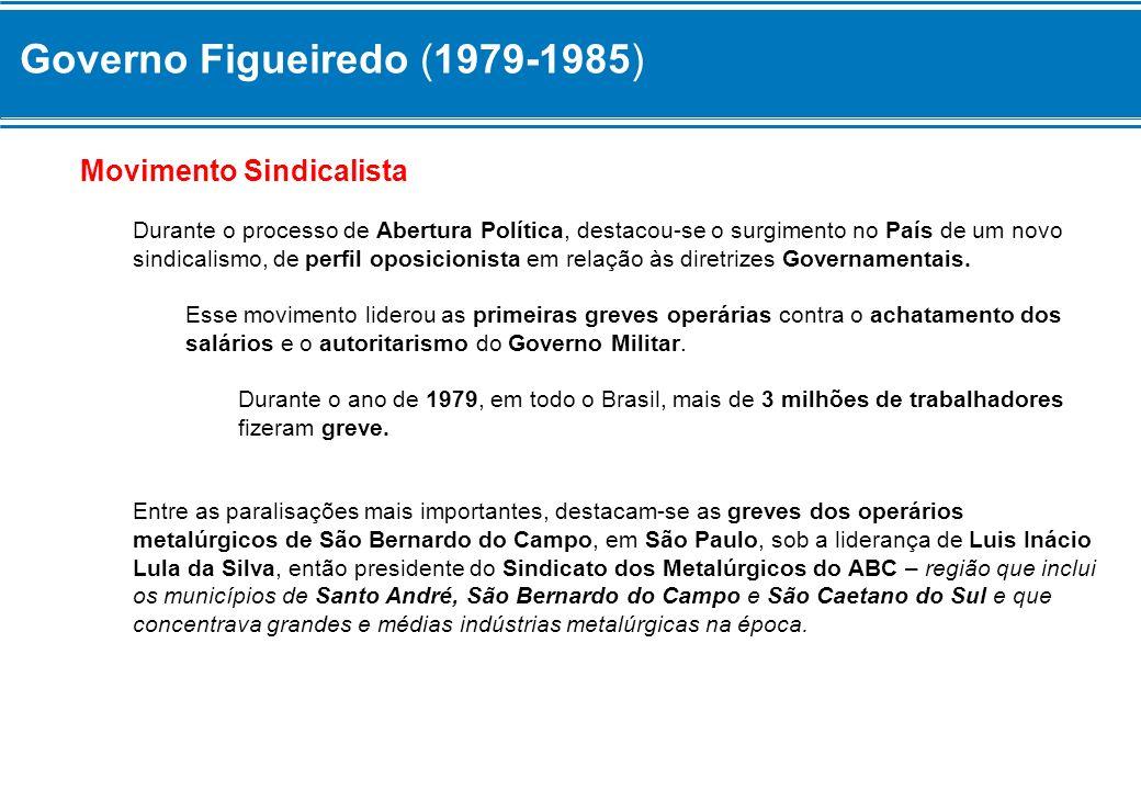 Governo Figueiredo (1979-1985) Movimento Sindicalista Durante o processo de Abertura Política, destacou-se o surgimento no País de um novo sindicalism