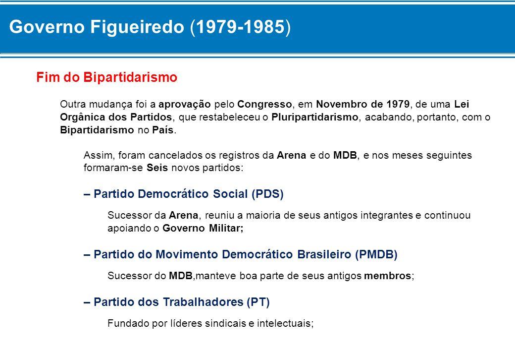 Governo Figueiredo (1979-1985) Fim do Bipartidarismo Outra mudança foi a aprovação pelo Congresso, em Novembro de 1979, de uma Lei Orgânica dos Partid
