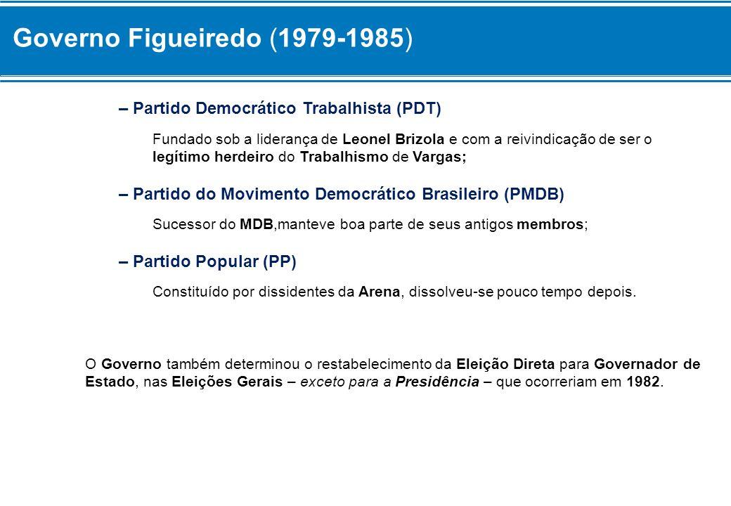 Governo Figueiredo (1979-1985) – Partido Democrático Trabalhista (PDT) Fundado sob a liderança de Leonel Brizola e com a reivindicação de ser o legíti