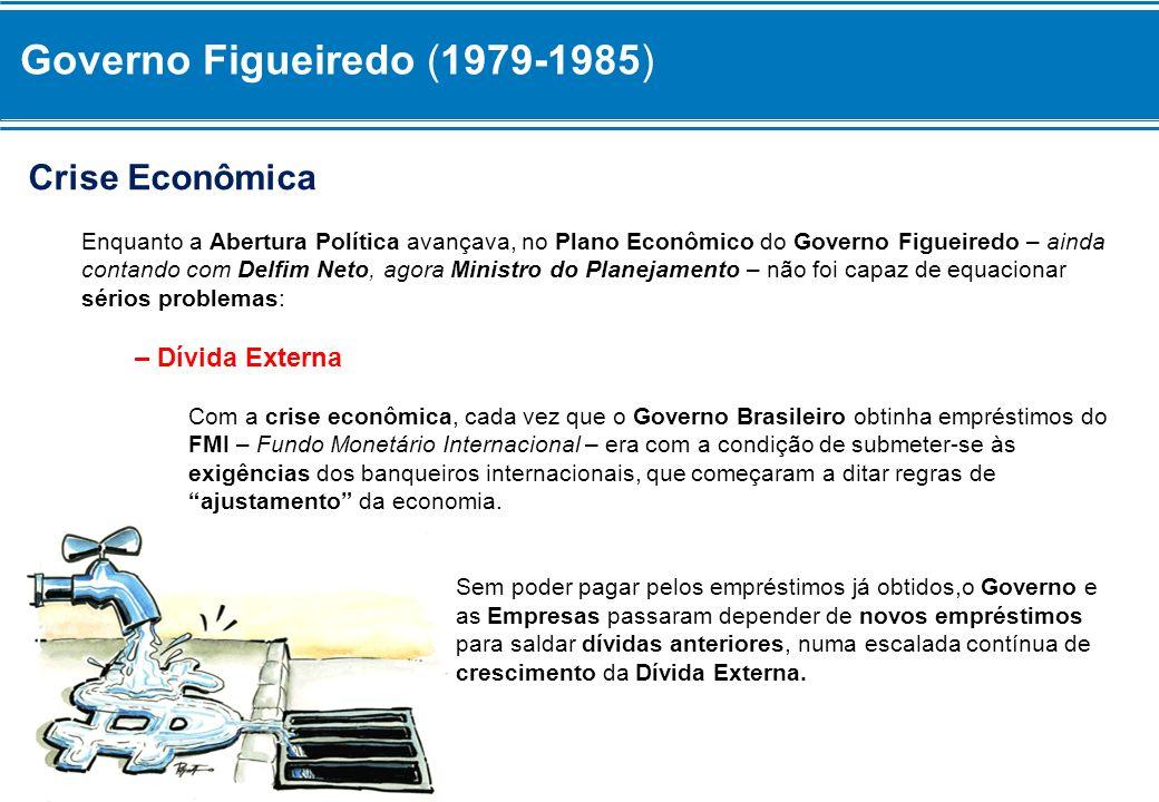 Governo Figueiredo (1979-1985) Crise Econômica Enquanto a Abertura Política avançava, no Plano Econômico do Governo Figueiredo – ainda contando com De