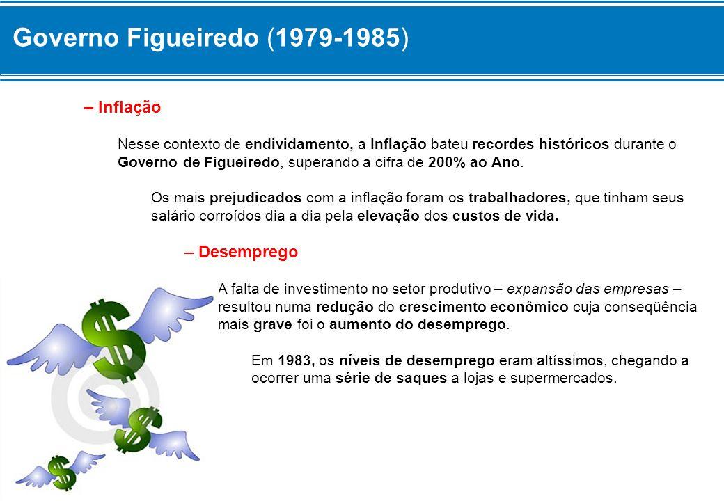 Governo Figueiredo (1979-1985) – Inflação Nesse contexto de endividamento, a Inflação bateu recordes históricos durante o Governo de Figueiredo, super