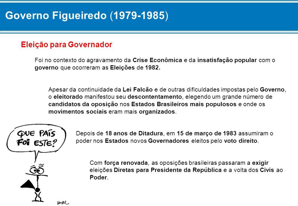 Governo Figueiredo (1979-1985) Eleição para Governador Foi no contexto do agravamento da Crise Econômica e da insatisfação popular com o governo que o