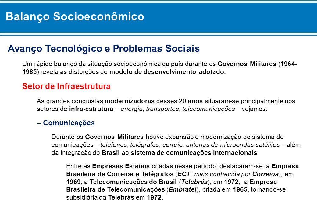 Balanço Socioeconômico Avanço Tecnológico e Problemas Sociais Um rápido balanço da situação socioeconômica da país durante os Governos Militares (1964