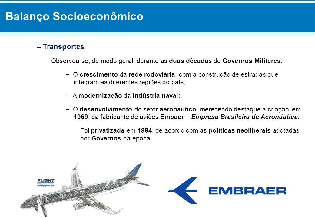 Balanço Socioeconômico – Transportes Observou-se, de modo geral, durante as duas décadas de Governos Militares: – O crescimento da rede rodoviária, co