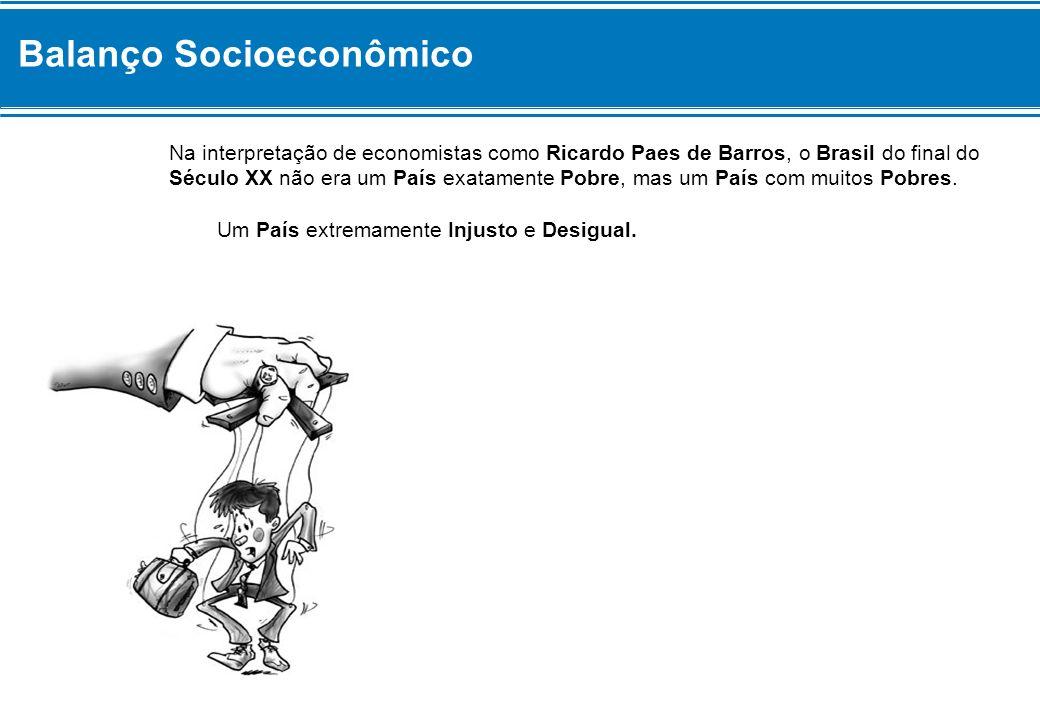 Balanço Socioeconômico Na interpretação de economistas como Ricardo Paes de Barros, o Brasil do final do Século XX não era um País exatamente Pobre, m