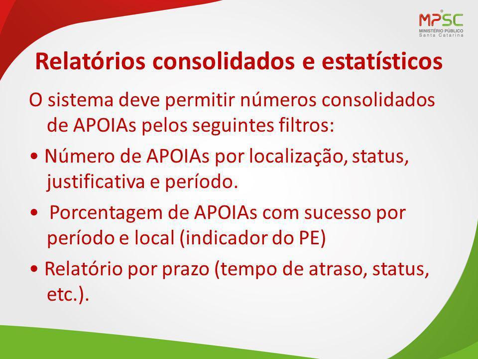 Relatórios consolidados e estatísticos O sistema deve permitir números consolidados de APOIAs pelos seguintes filtros: Número de APOIAs por localização, status, justificativa e período.
