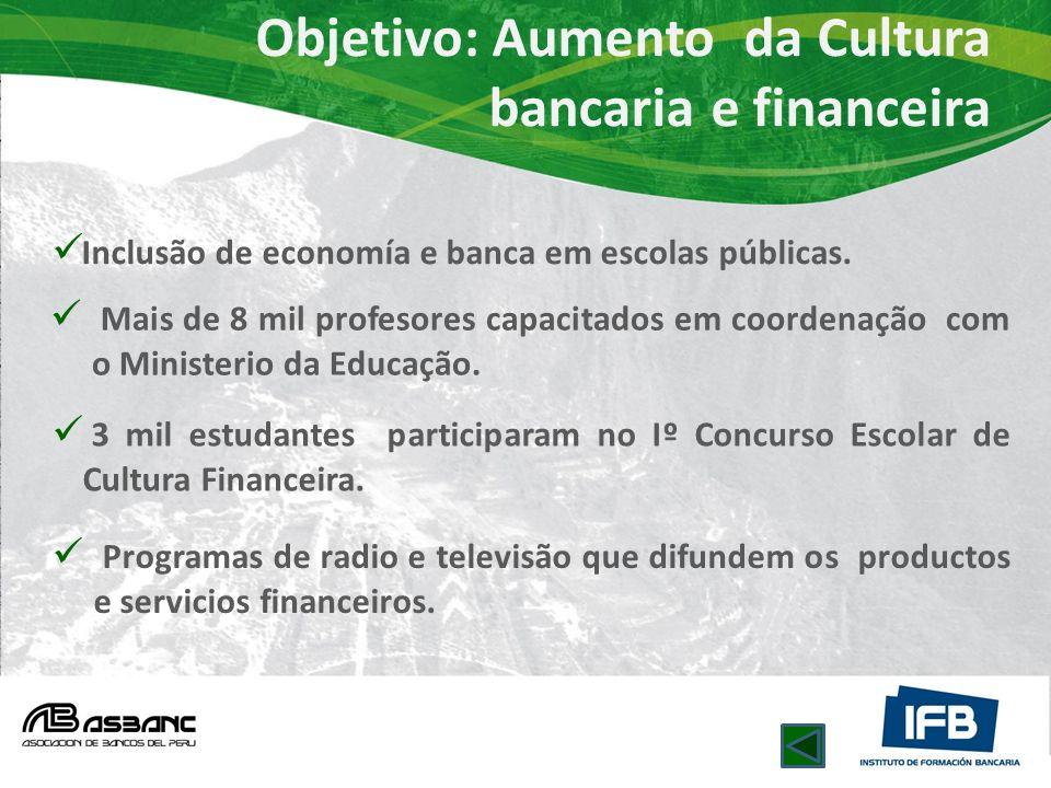Objetivo: Aumento da Cultura bancaria e financeira Inclusão de economía e banca em escolas públicas. Mais de 8 mil profesores capacitados em coordenaç