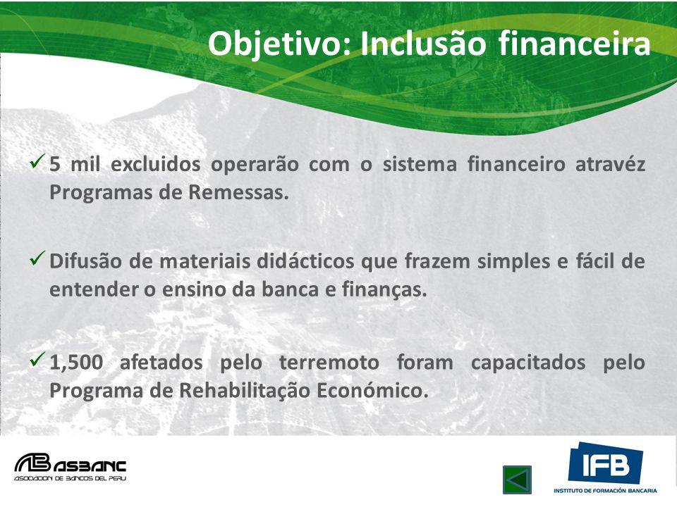 Objetivo: Inclusão financeira 5 mil excluidos operarão com o sistema financeiro atravéz Programas de Remessas. Difusão de materiais didácticos que fra