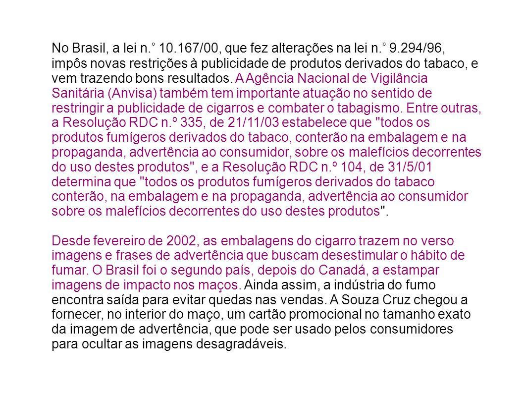 No Brasil, a lei n.° 10.167/00, que fez alterações na lei n.° 9.294/96, impôs novas restrições à publicidade de produtos derivados do tabaco, e vem tr