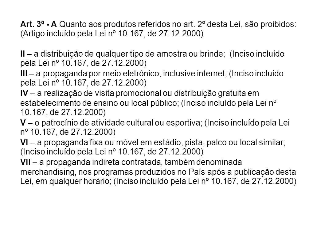 Art. 3º - A Quanto aos produtos referidos no art. 2º desta Lei, são proibidos: (Artigo incluído pela Lei nº 10.167, de 27.12.2000) II – a distribuição