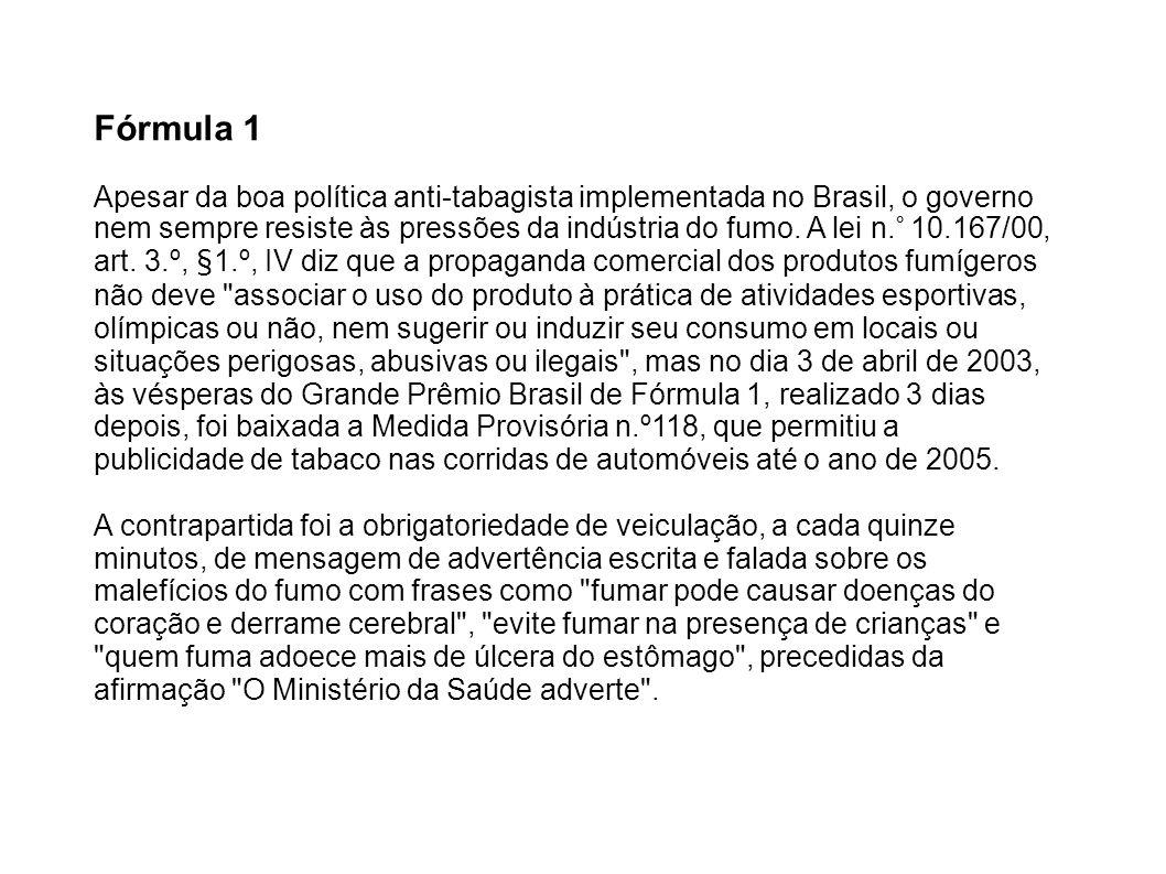 Fórmula 1 Apesar da boa política anti-tabagista implementada no Brasil, o governo nem sempre resiste às pressões da indústria do fumo. A lei n.° 10.16