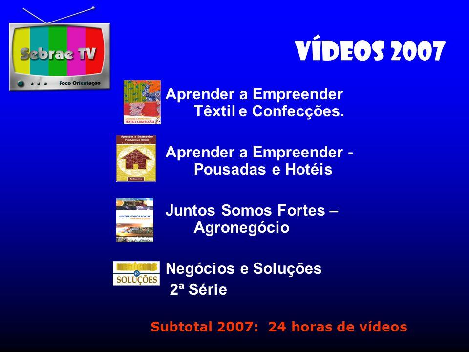 Vídeos 2007 Aprender a Empreender Têxtil e Confecções. Aprender a Empreender - Pousadas e Hotéis Juntos Somos Fortes – Agronegócio Negócios e Soluções
