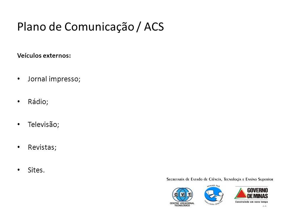 12 Plano de Comunicação / ACS Veículos externos: Jornal impresso; Rádio; Televisão; Revistas; Sites.