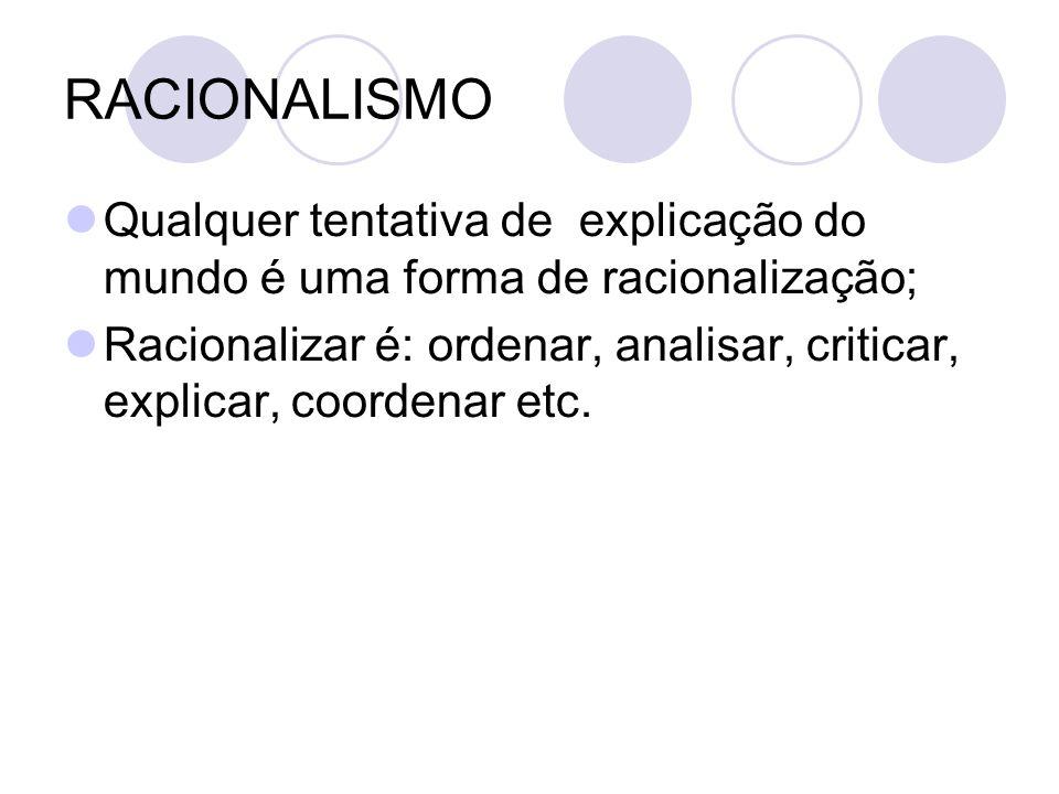 RACIONALISMO Qualquer tentativa de explicação do mundo é uma forma de racionalização; Racionalizar é: ordenar, analisar, criticar, explicar, coordenar