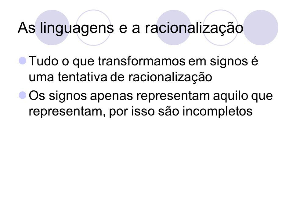As linguagens e a racionalização Tudo o que transformamos em signos é uma tentativa de racionalização Os signos apenas representam aquilo que represen