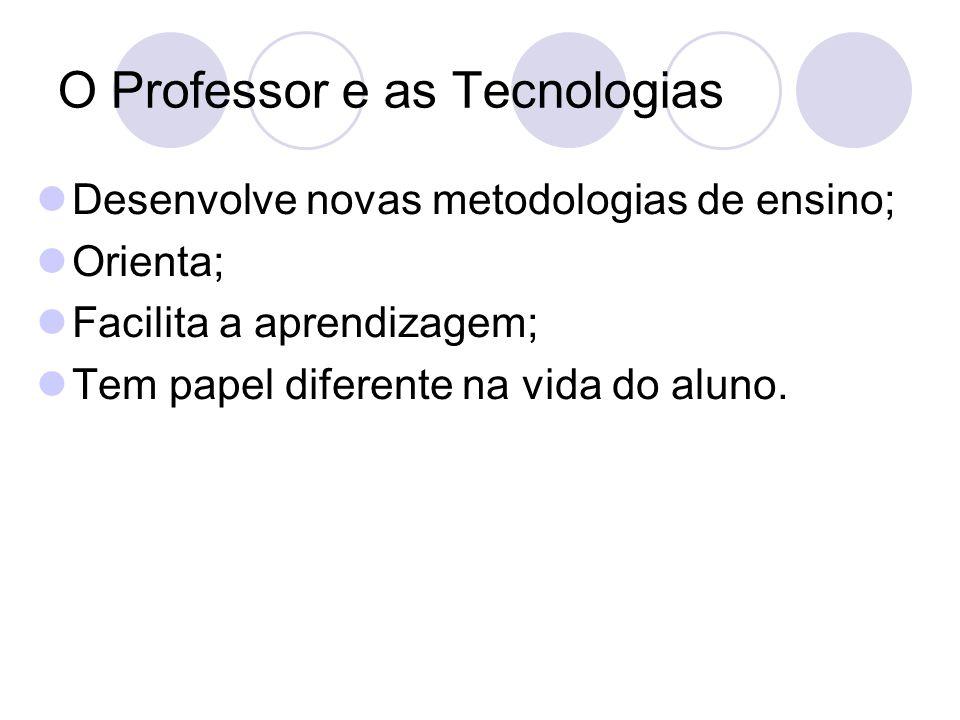 O Professor e as Tecnologias Desenvolve novas metodologias de ensino; Orienta; Facilita a aprendizagem; Tem papel diferente na vida do aluno.
