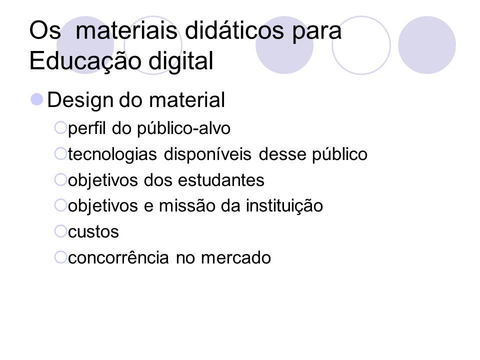 Os materiais didáticos para Educação digital Design do material perfil do público-alvo tecnologias disponíveis desse público objetivos dos estudantes
