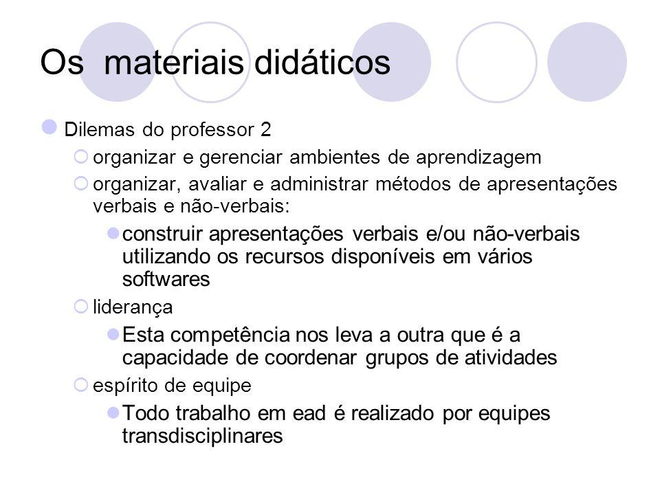 Os materiais didáticos Dilemas do professor 2 organizar e gerenciar ambientes de aprendizagem organizar, avaliar e administrar métodos de apresentaçõe