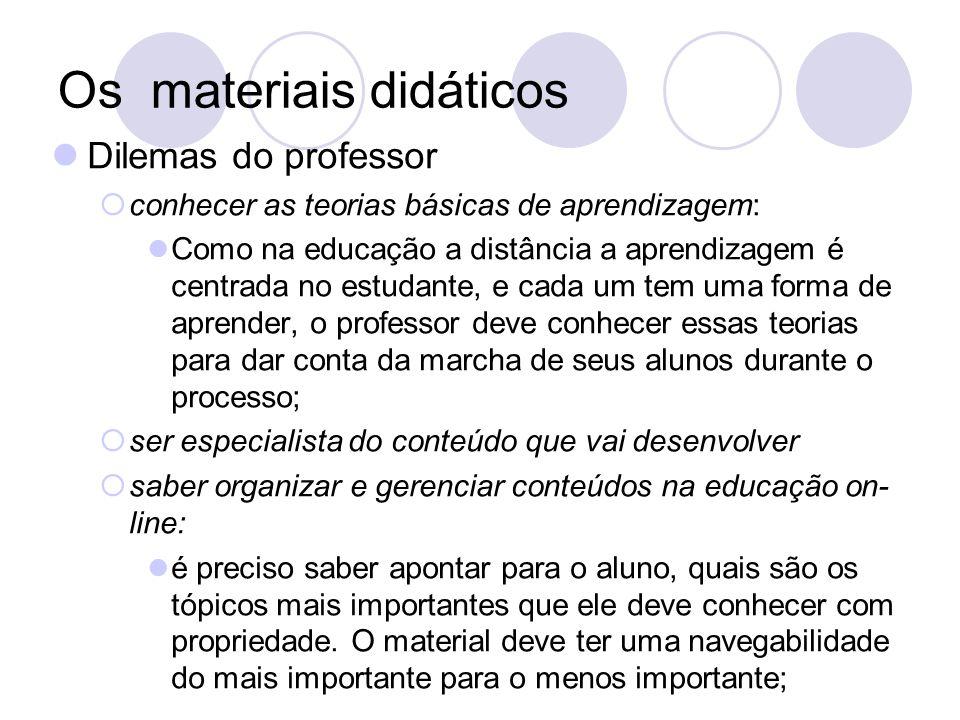 Os materiais didáticos Dilemas do professor conhecer as teorias básicas de aprendizagem: Como na educação a distância a aprendizagem é centrada no est