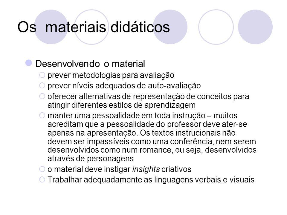 Os materiais didáticos Desenvolvendo o material prever metodologias para avaliação prever níveis adequados de auto-avaliação oferecer alternativas de