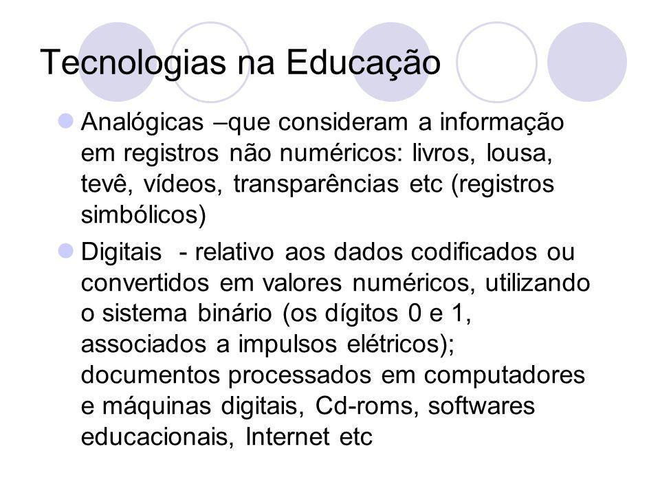 Tecnologias na Educação Analógicas –que consideram a informação em registros não numéricos: livros, lousa, tevê, vídeos, transparências etc (registros