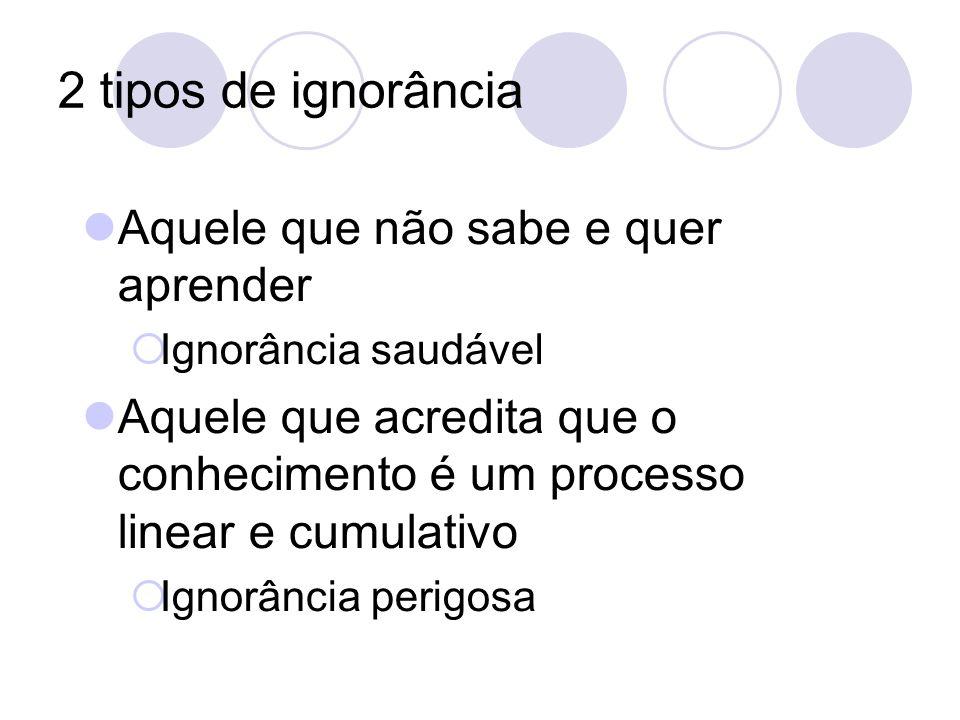 2 tipos de ignorância Aquele que não sabe e quer aprender Ignorância saudável Aquele que acredita que o conhecimento é um processo linear e cumulativo
