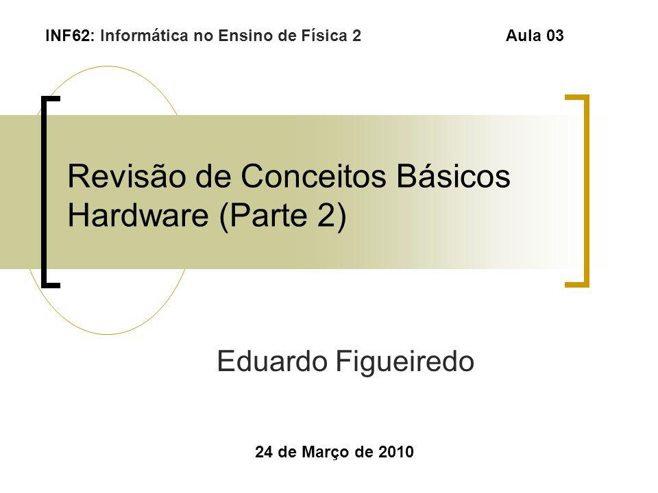 Revisão de Conceitos Básicos Hardware (Parte 2) Eduardo Figueiredo 24 de Março de 2010 INF62: Informática no Ensino de Física 2 Aula 03