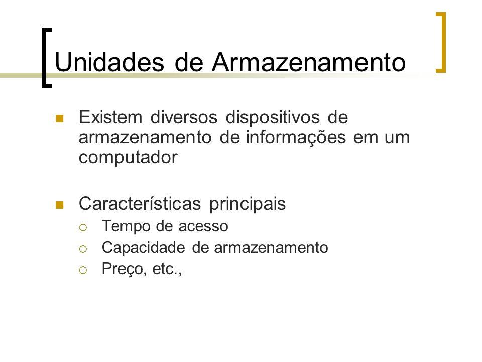 Unidades de Armazenamento Existem diversos dispositivos de armazenamento de informações em um computador Características principais Tempo de acesso Ca