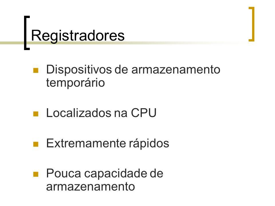 Registradores Dispositivos de armazenamento temporário Localizados na CPU Extremamente rápidos Pouca capacidade de armazenamento
