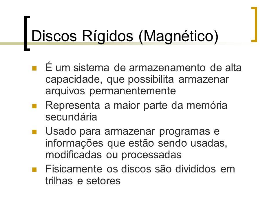 Discos Rígidos (Magnético) É um sistema de armazenamento de alta capacidade, que possibilita armazenar arquivos permanentemente Representa a maior par