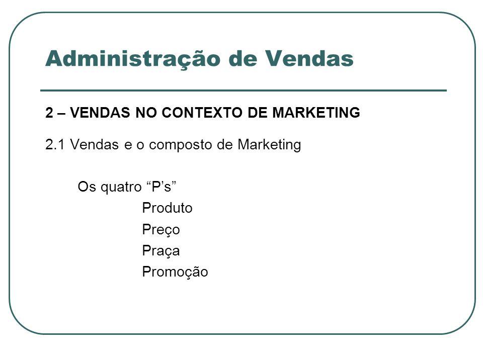 Administração de Vendas 2 – VENDAS NO CONTEXTO DE MARKETING 2.1 Vendas e o composto de Marketing Os quatro Ps Produto Preço Praça Promoção