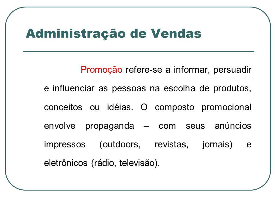 Administração de Vendas Promoção refere-se a informar, persuadir e influenciar as pessoas na escolha de produtos, conceitos ou idéias. O composto prom