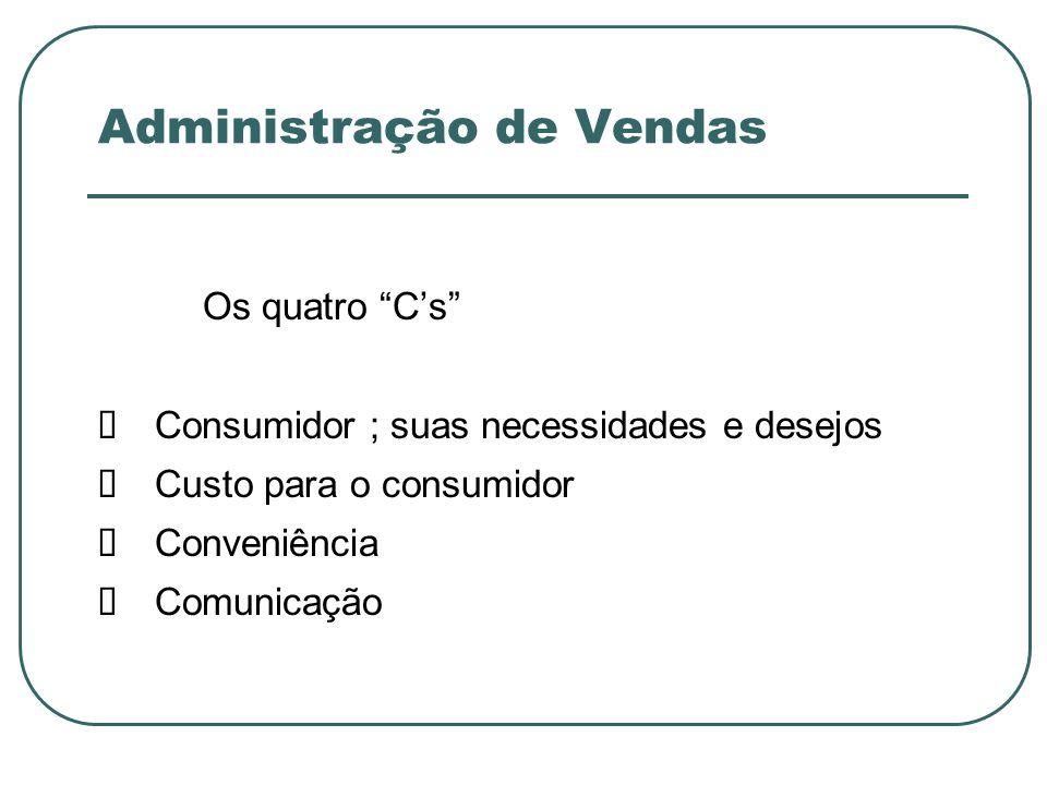 Administração de Vendas Os quatro Cs Consumidor ; suas necessidades e desejos Custo para o consumidor Conveniência Comunicação