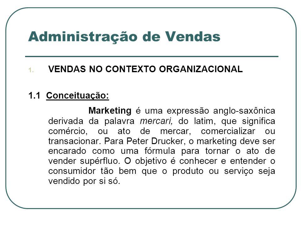 Administração de Vendas 1. VENDAS NO CONTEXTO ORGANIZACIONAL 1.1 Conceituação: Marketing é uma expressão anglo-saxônica derivada da palavra mercari, d