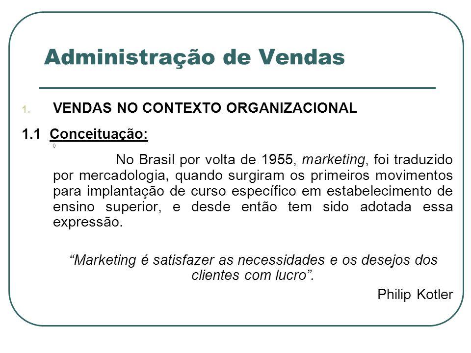 Administração de Vendas 1. VENDAS NO CONTEXTO ORGANIZACIONAL 1.1 Conceituação: 0 No Brasil por volta de 1955, marketing, foi traduzido por mercadologi