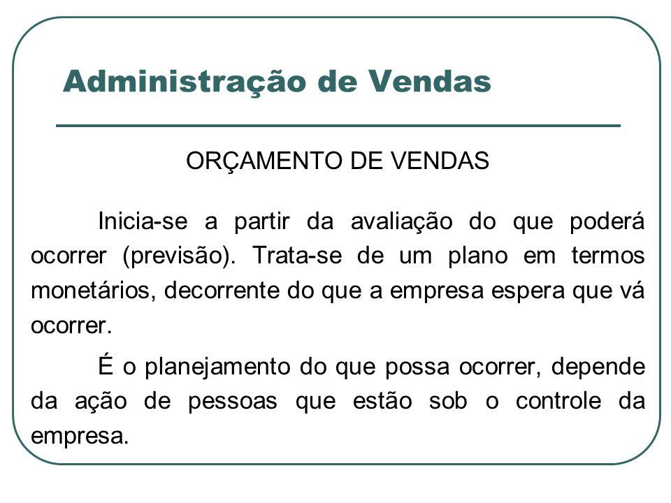 Administração de Vendas ORÇAMENTO DE VENDAS Inicia-se a partir da avaliação do que poderá ocorrer (previsão). Trata-se de um plano em termos monetário