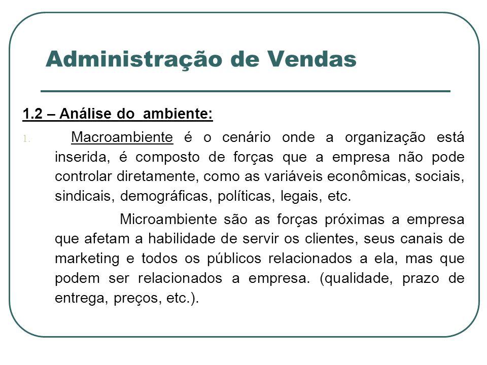 Administração de Vendas 1.2 – Análise do ambiente: 1. Macroambiente é o cenário onde a organização está inserida, é composto de forças que a empresa n