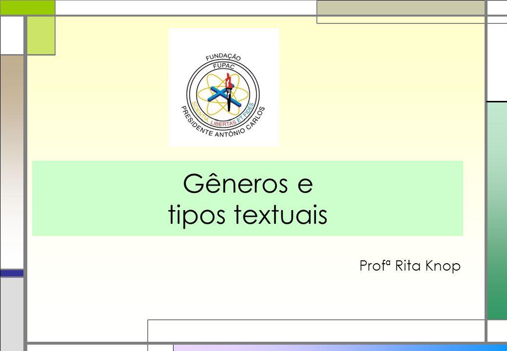 Gêneros e tipos textuais Profª Rita Knop