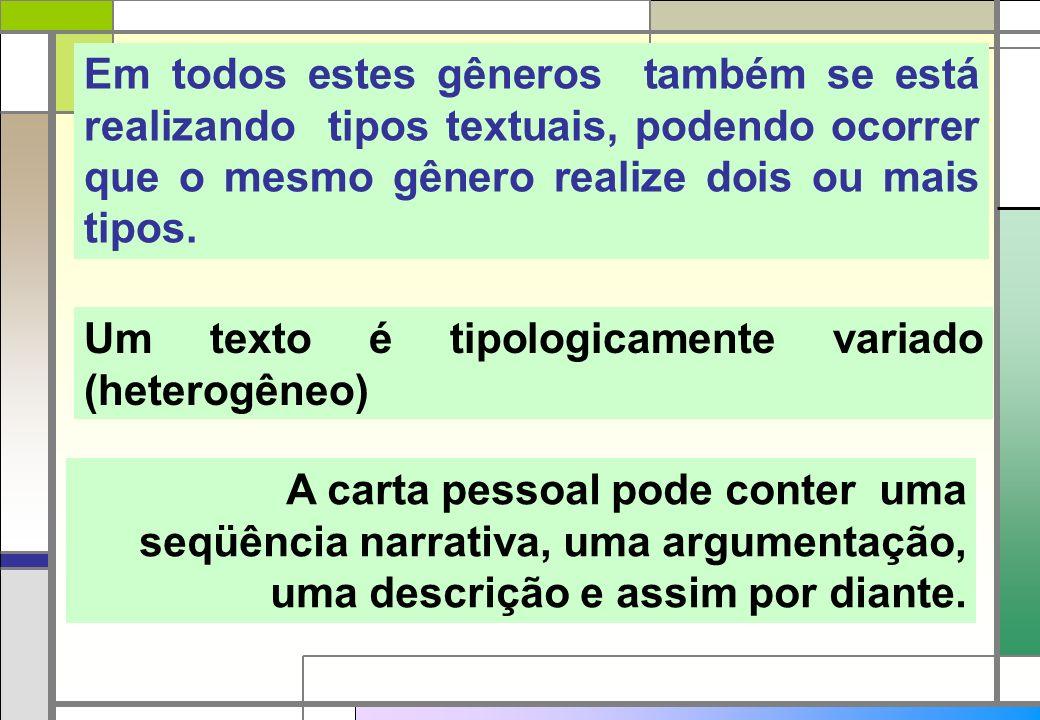 Em todos estes gêneros também se está realizando tipos textuais, podendo ocorrer que o mesmo gênero realize dois ou mais tipos. Um texto é tipologicam