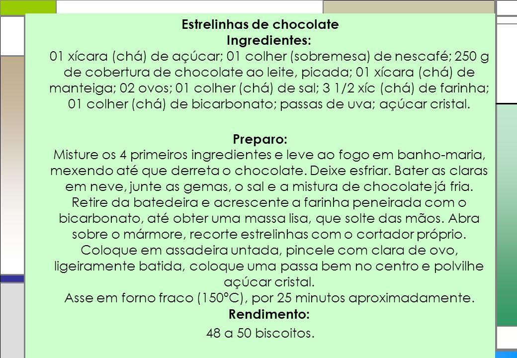 Estrelinhas de chocolate Ingredientes: 01 xícara (chá) de açúcar; 01 colher (sobremesa) de nescafé; 250 g de cobertura de chocolate ao leite, picada;