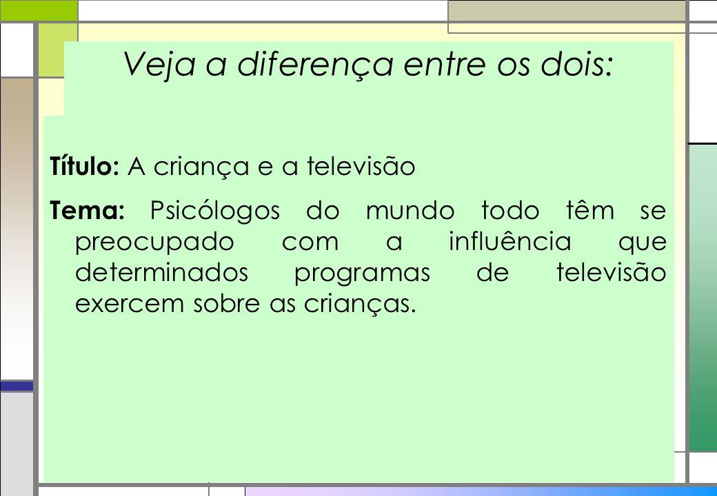 Veja a diferença entre os dois: Título: A criança e a televisão Tema: Psicólogos do mundo todo têm se preocupado com a influência que determinados pro