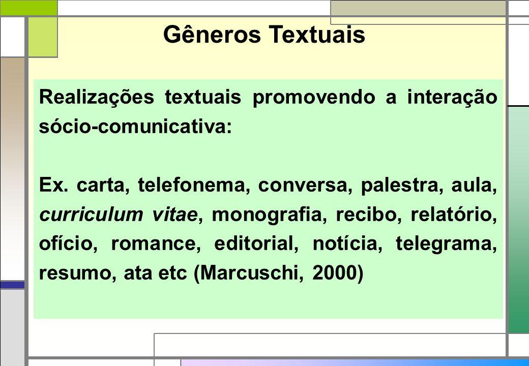 Gêneros Textuais Realizações textuais promovendo a interação sócio-comunicativa: Ex. carta, telefonema, conversa, palestra, aula, curriculum vitae, mo