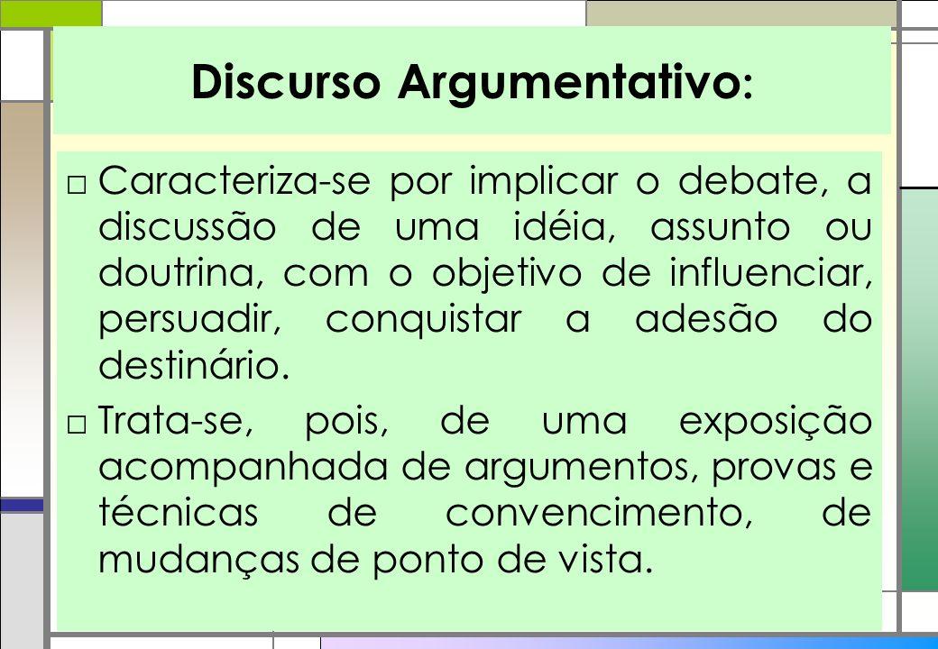Discurso Argumentativo : Caracteriza-se por implicar o debate, a discussão de uma idéia, assunto ou doutrina, com o objetivo de influenciar, persuadir