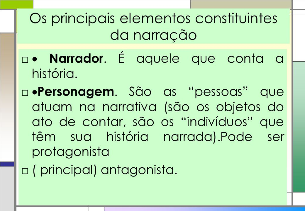 Os principais elementos constituintes da narração Narrador. É aquele que conta a história. Personagem. São as pessoas que atuam na narrativa (são os o