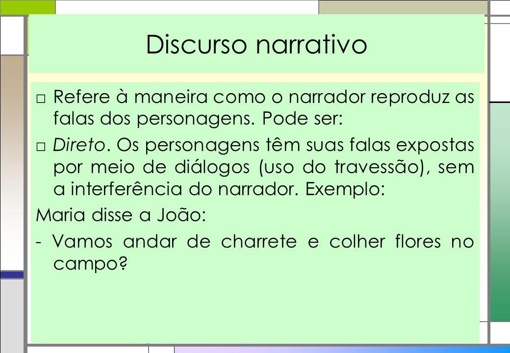 Discurso narrativo Refere à maneira como o narrador reproduz as falas dos personagens. Pode ser: Direto. Os personagens têm suas falas expostas por me