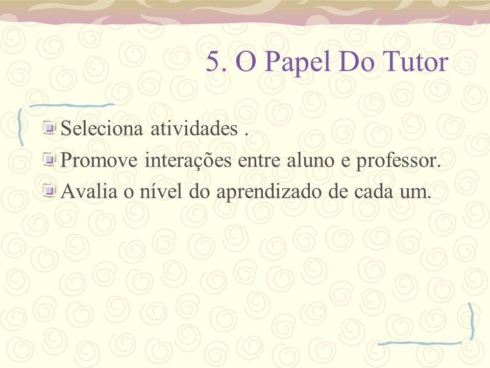 5.O Papel Do Tutor Seleciona atividades. Promove interações entre aluno e professor.